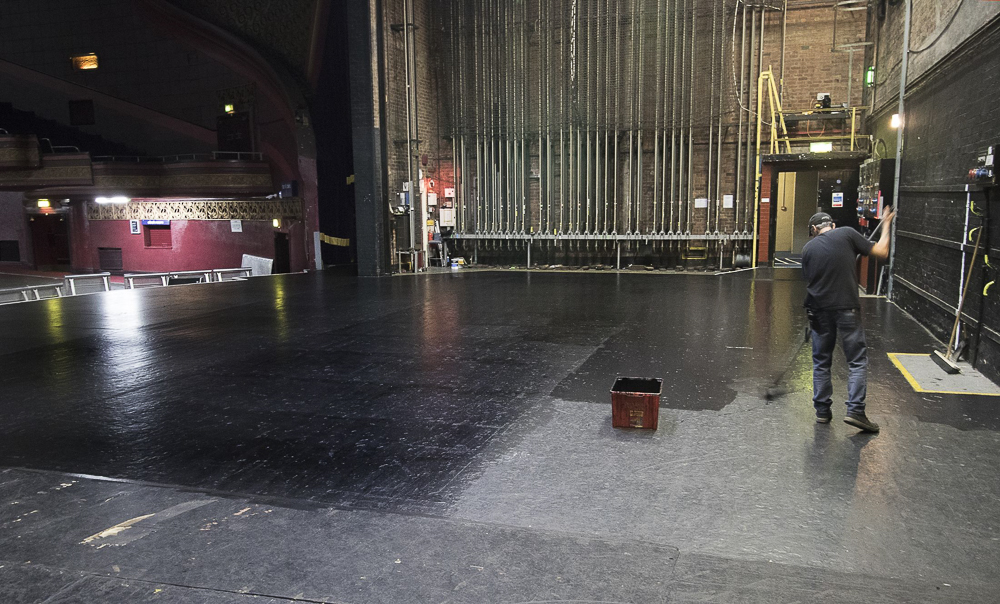 Paint it Black: Theatre technicians keep the stage and its walls painted black, providing a blank canvas for the visiting stage shows